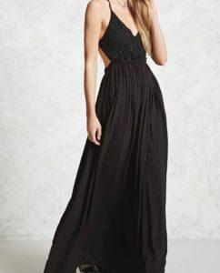 robe longue crochet noir forever21