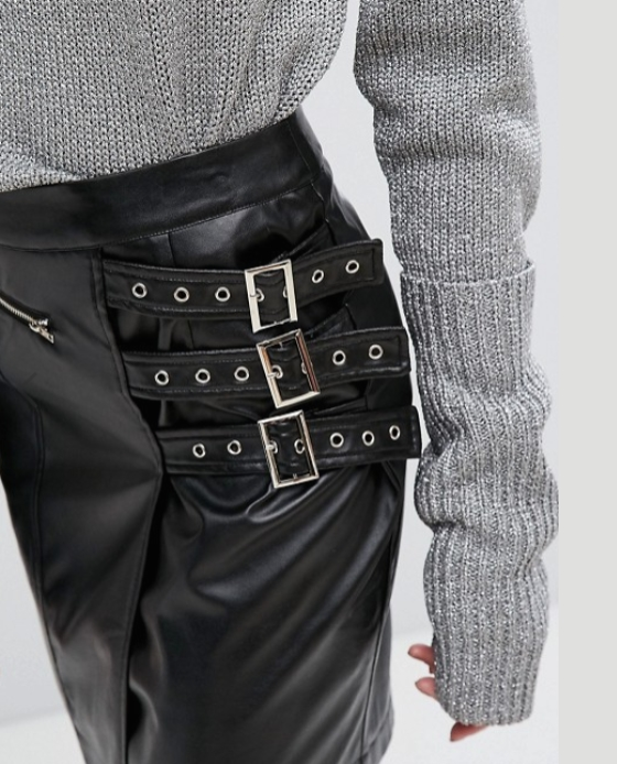 jupe cuir taille haute passant