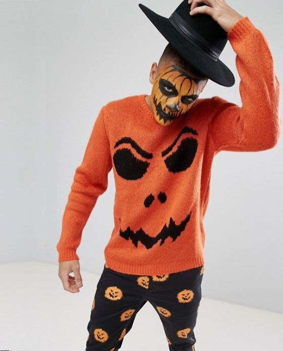 pull citrouille homme halloween