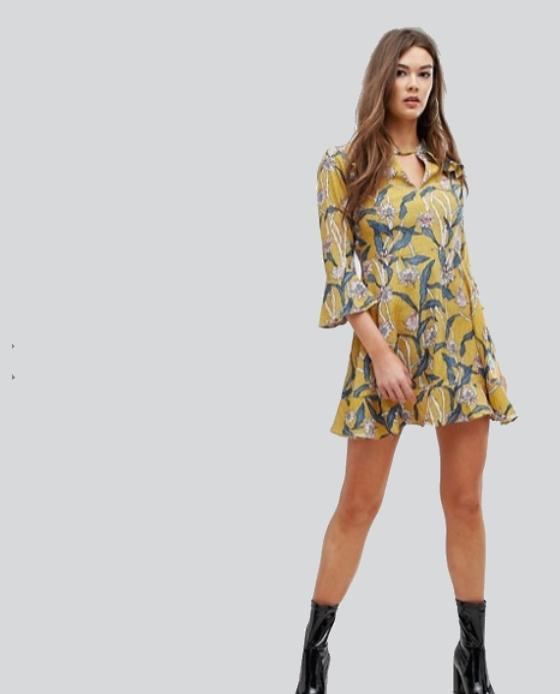 robe fleuris jaune