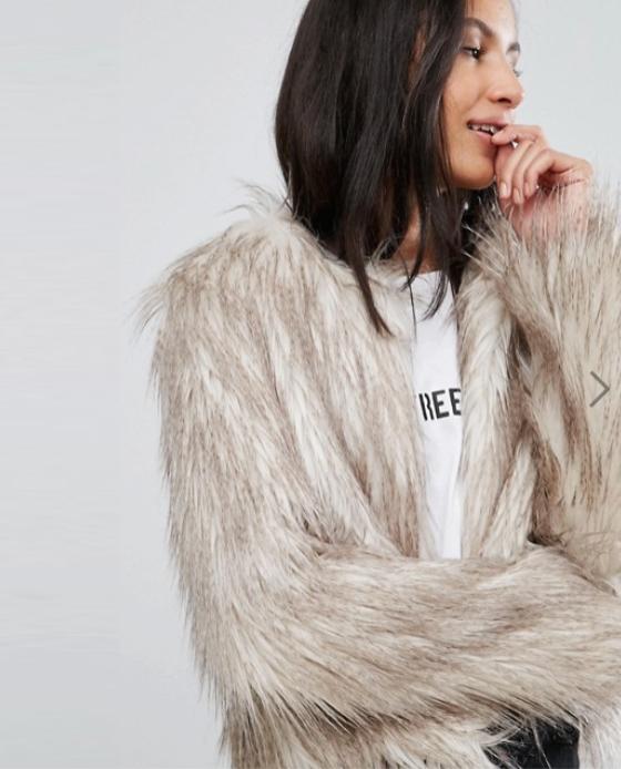 fourrure beige asos manteau