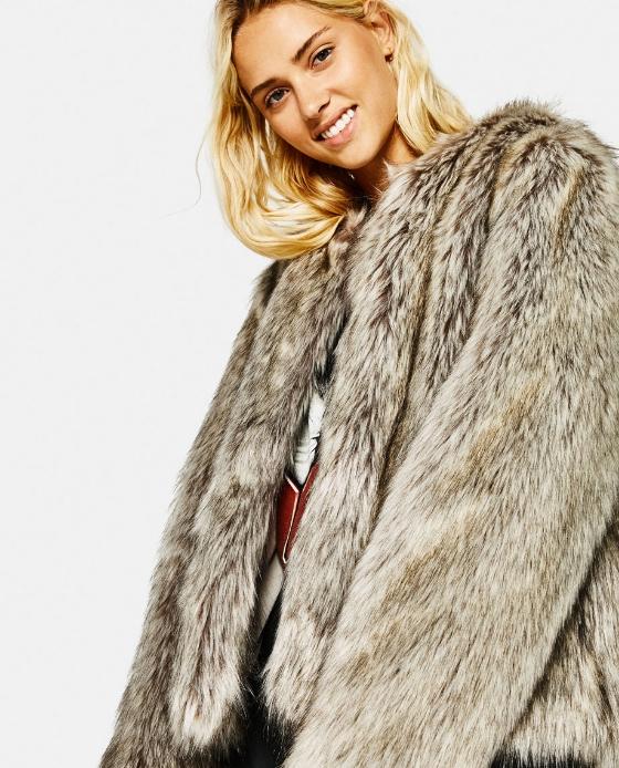 manteau fausse fourrure court marron