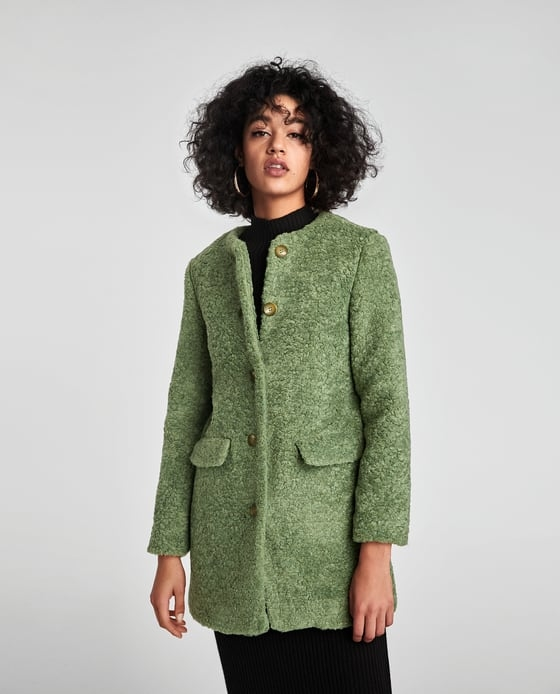 manteau fausse fourrure long vert