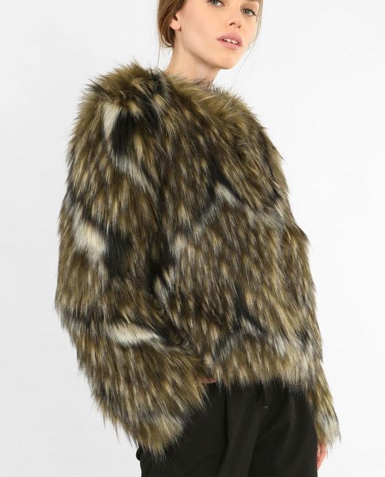 manteau fausse fourrure marron