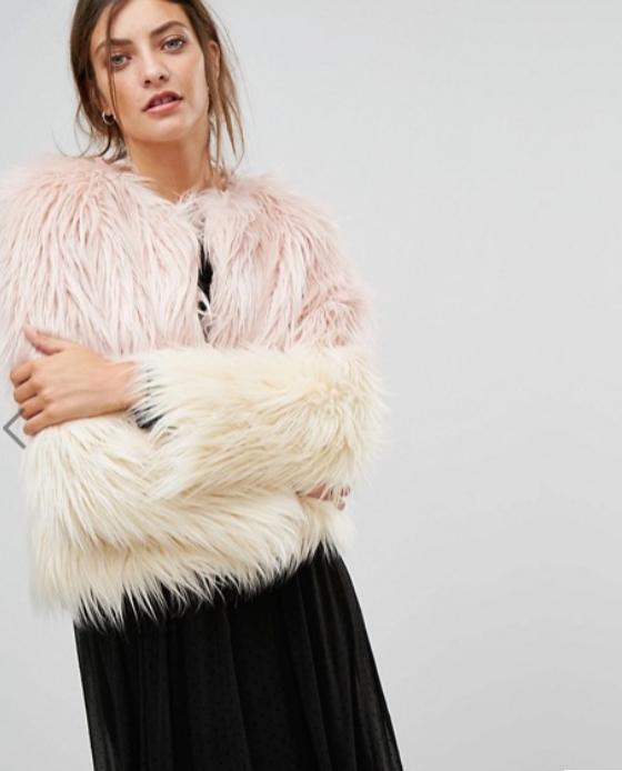 manteau fausse fourrure rose asos