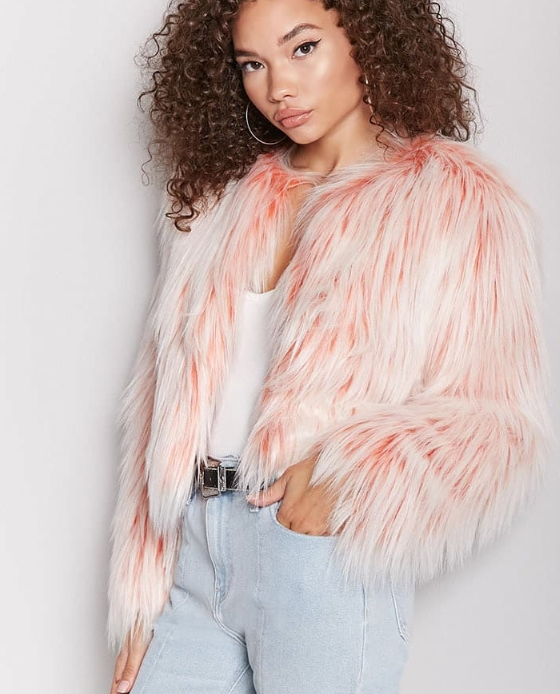 manteau fausse fourrure rose blanc