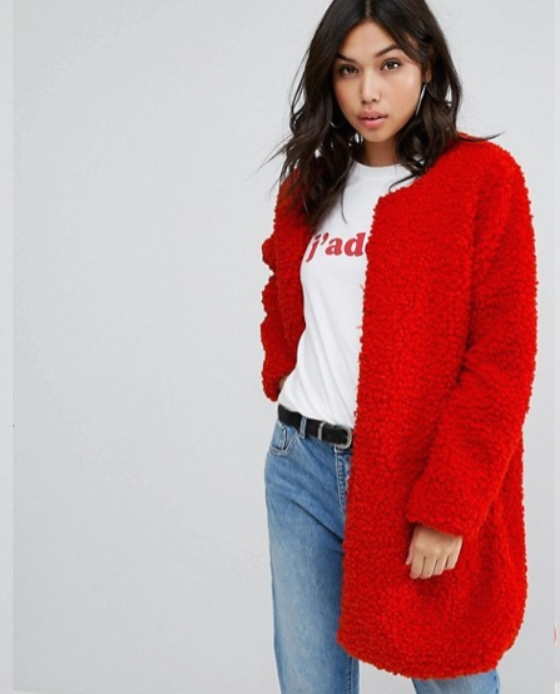 manteau peluche long Rouge