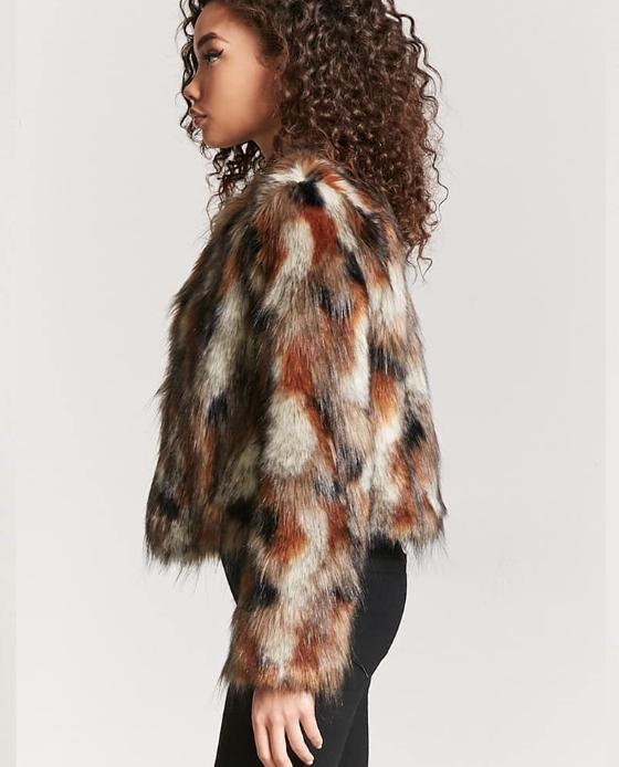 veste fausse fourrure marron noir