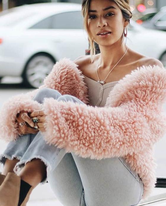 veste fourrure mouton rose forever21