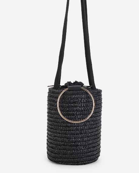 sac panier noir osier