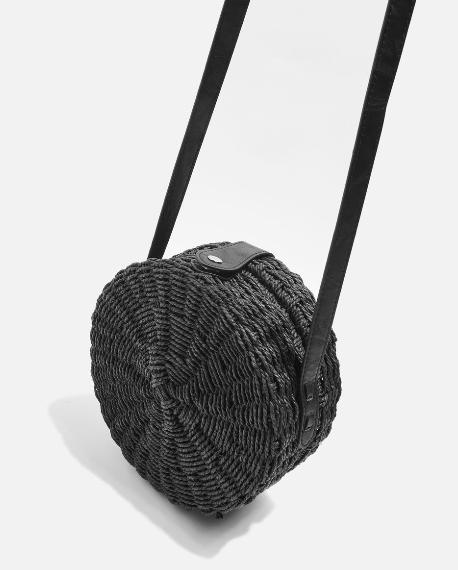 sac rond paille noir