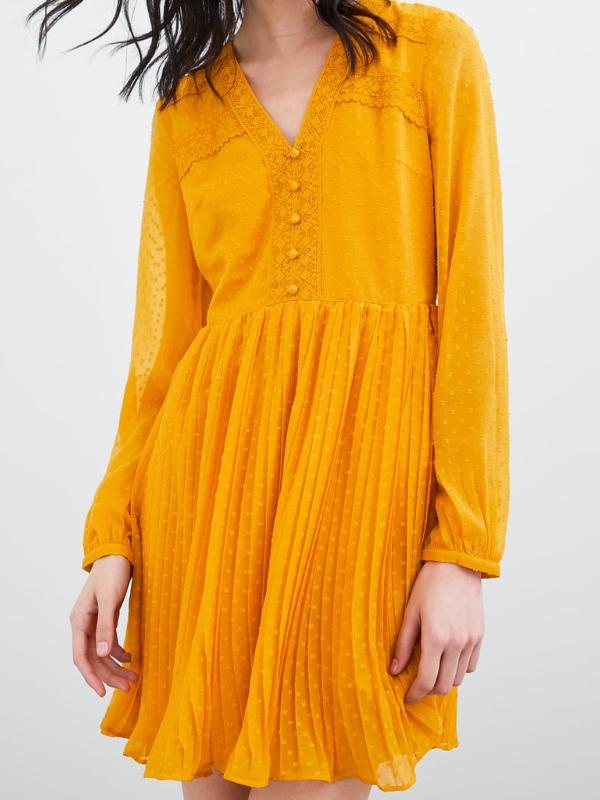 robe zara plumetis jaune moutarde