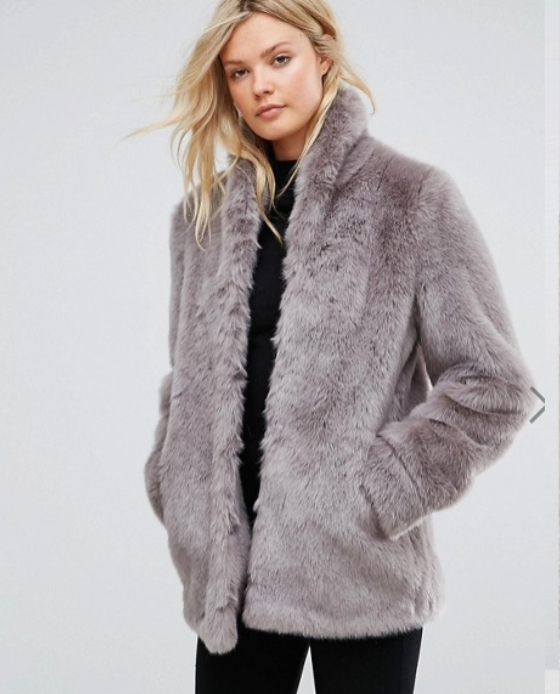 fausse fourrure manteau gris asos