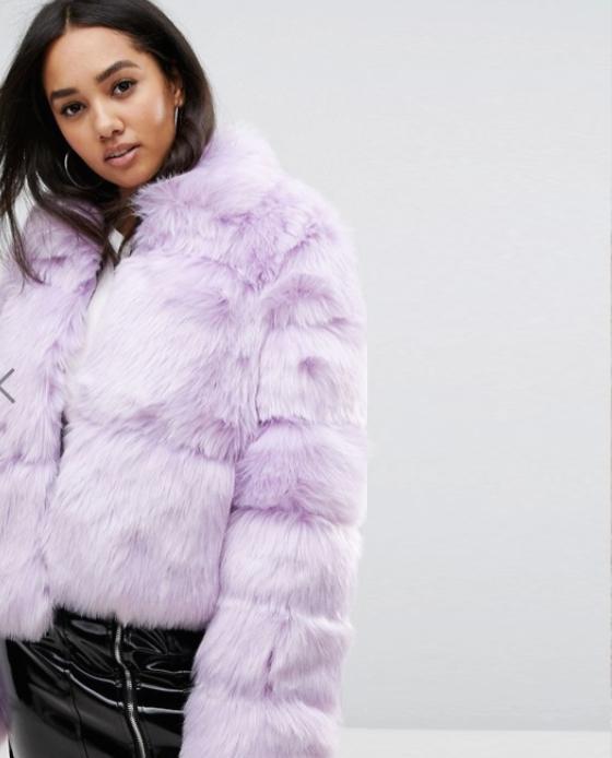 fausse fourrure manteau mauve