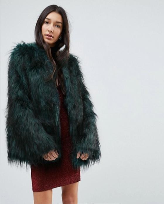 fausse fourrure manteau vert asos