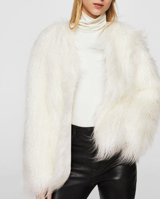 manteau blanc fausse fourrure mango