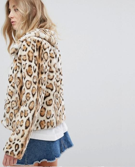 manteau fausse fourrure leopard asos