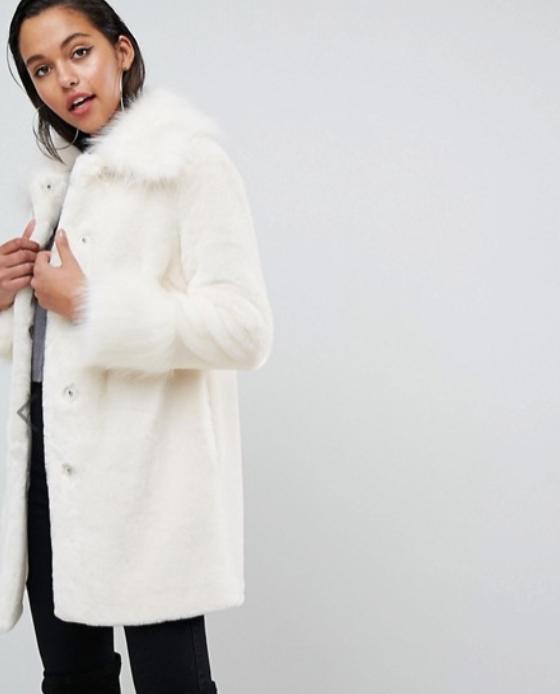 manteau fausse fourrure long blanc