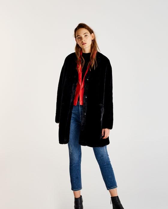 manteau fausse fourrure long noir