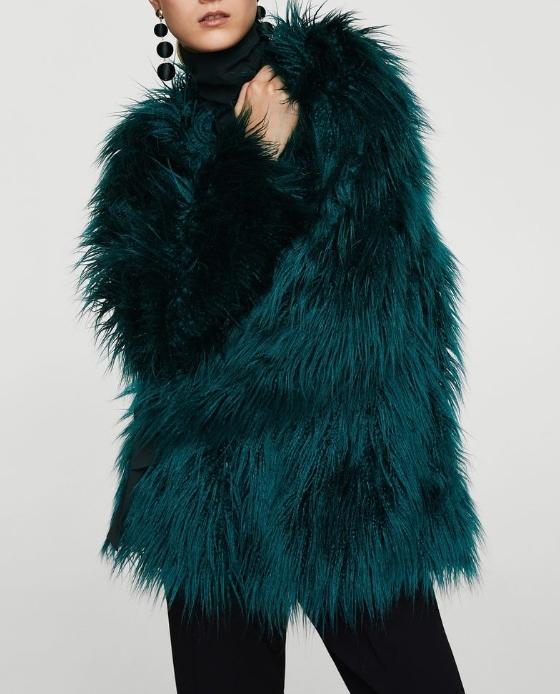 manteau fausse fourrure vert