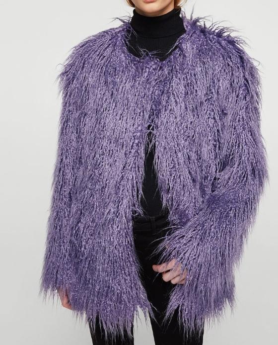 manteau fausse fourrure violet