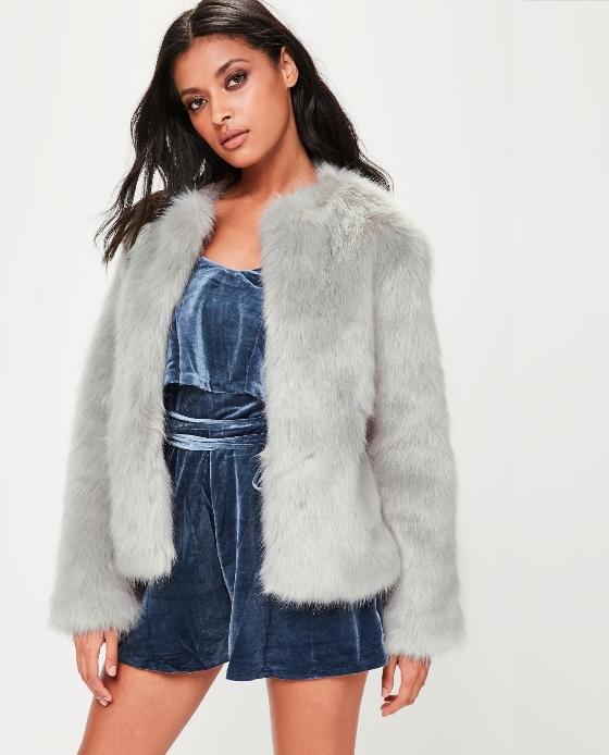 manteau fourrure fausse gris missguided
