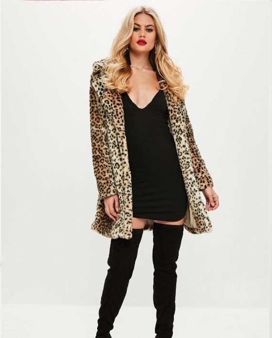 manteau long fausse fourrure leopard