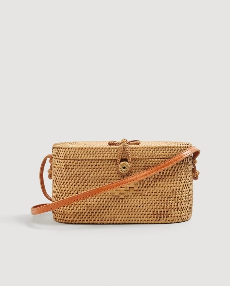 sac bandouliere rotin paille