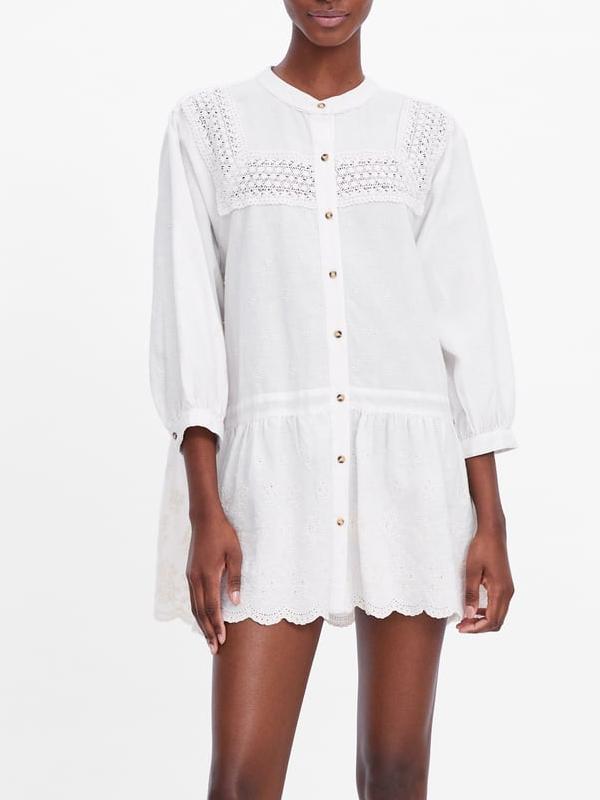 robe blanc broderie zara