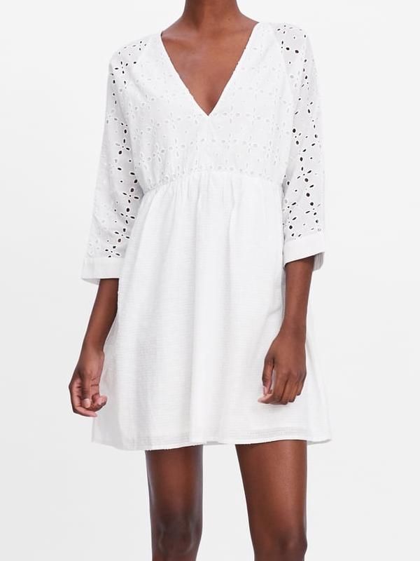 robe broderie anglaise blanche zara 2019